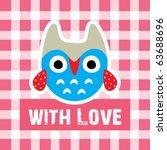 cute little owl with love | Shutterstock .eps vector #63688696