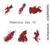 watercolor splashes. set of... | Shutterstock .eps vector #636896896