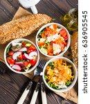 colorful vegetable salad bowl... | Shutterstock . vector #636905545