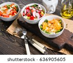 colorful vegetable salad bowl... | Shutterstock . vector #636905605