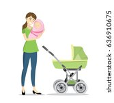 beauty woman with newborn baby... | Shutterstock .eps vector #636910675