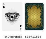 ace of spades in line style... | Shutterstock .eps vector #636911596
