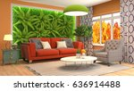 interior living room. 3d... | Shutterstock . vector #636914488