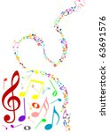 musical background with colored ... | Shutterstock .eps vector #63691576