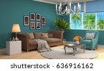 interior living room. 3d... | Shutterstock . vector #636916162