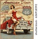 diner route 66 vintage poster | Shutterstock . vector #636918592