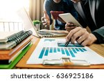 business team meeting present... | Shutterstock . vector #636925186