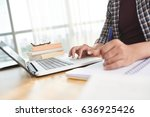 close up image of student using ... | Shutterstock . vector #636925426