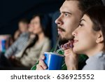 Small photo of Close up shot of a young couple watching a movie together sharing a drink at the cinema copyspace attention attentive interest couples love dating happiness activity leisure entertainment fascination