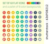 set of 63 mix flat icons and a... | Shutterstock .eps vector #636938212