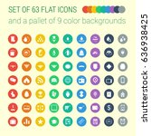 set of 63 mix flat icons and a... | Shutterstock .eps vector #636938425