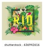 vector floral framed... | Shutterstock .eps vector #636942616