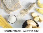 carbohydrates sources on white... | Shutterstock . vector #636945532