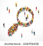 large group of people stand in... | Shutterstock .eps vector #636956428