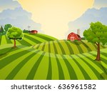 cartoon farm field green... | Shutterstock .eps vector #636961582