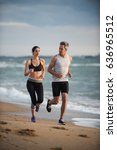 a couple wearing sportswear is... | Shutterstock . vector #636965512