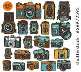 hand drawing colorful retro... | Shutterstock .eps vector #636972592