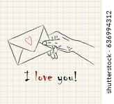 hand drawn hand holding a... | Shutterstock .eps vector #636994312