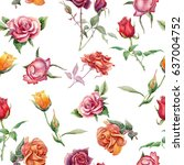 seamless floral pattern with... | Shutterstock . vector #637004752