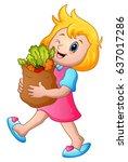 cartoon girl holding paper bag... | Shutterstock . vector #637017286