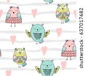 vector seamless pattern with... | Shutterstock .eps vector #637017682