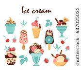 set of elements for ice cream....   Shutterstock .eps vector #637025032