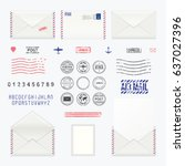 set of post stamp symbols  mail ... | Shutterstock .eps vector #637027396