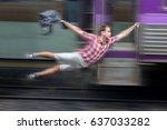 man with backpack flies behind... | Shutterstock . vector #637033282