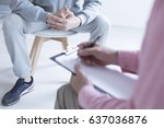 psychologist taking notes... | Shutterstock . vector #637036876