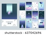 2018 calendar concept. vector... | Shutterstock .eps vector #637042696