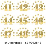 set of golden digit from forty... | Shutterstock . vector #637043548