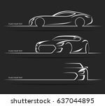 Stock vector set of sports car silhouettes vector illustration 637044895