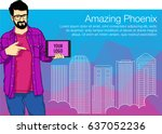 guy showing tablet screen app... | Shutterstock .eps vector #637052236