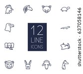 set of 12 beast outline icons... | Shutterstock .eps vector #637058146