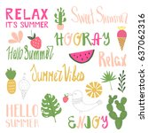 hand drawn summer elements | Shutterstock .eps vector #637062316
