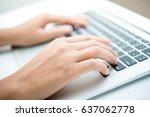 closeup of business man hand... | Shutterstock . vector #637062778