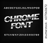 chrome alphabet font. metal... | Shutterstock .eps vector #637063672