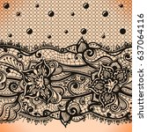 abstract lace ribbon seamless... | Shutterstock .eps vector #637064116