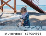 little girl with chihuahua dog  ... | Shutterstock . vector #637064995