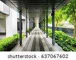 modern open corridor protecting ... | Shutterstock . vector #637067602