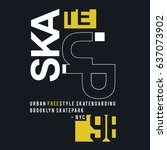 skate board brooklyn typography ... | Shutterstock .eps vector #637073902