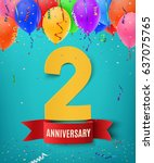 two years anniversary...   Shutterstock .eps vector #637075765