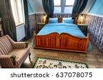 luxury hotel bedroom in russian ... | Shutterstock . vector #637078075