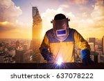 welding worker welding steel... | Shutterstock . vector #637078222