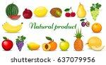 set of colorful cartoon fruit.... | Shutterstock . vector #637079956