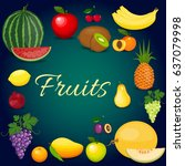 set of colorful cartoon fruit.... | Shutterstock . vector #637079998