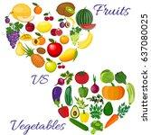 fresh organic food. set of... | Shutterstock . vector #637080025