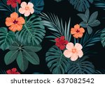 seamless hand drawn tropical... | Shutterstock .eps vector #637082542