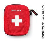 top view of first aid kit bag... | Shutterstock . vector #637100092