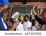 friends watching game in sports ... | Shutterstock . vector #637107202